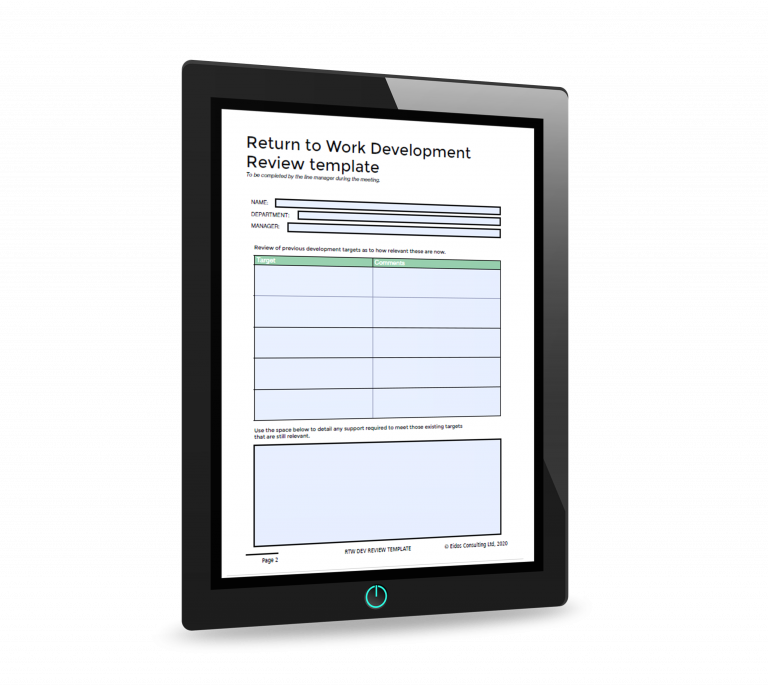 Return to work development review template